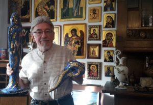 Eine Lady in blue – Künstler Rudolf Zebisch mit neuen Mosaiken
